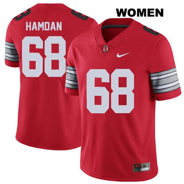 Zaid Hamdan 2018 Spring Game Womens Nike Red Ohio State Buckeyes Stitched Authentic no. 68 College Football Jersey - Zaid Hamdan Jersey
