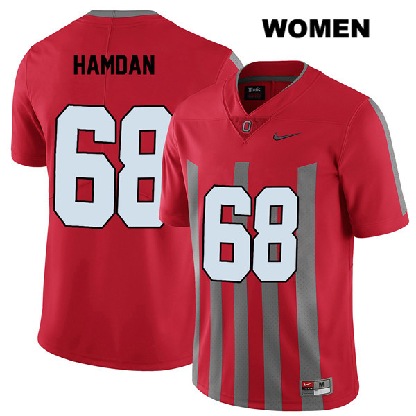 Stitched Zaid Hamdan Nike Womens Red Ohio State Buckeyes Authentic Elite no. 68 College Football Jersey - Zaid Hamdan Jersey