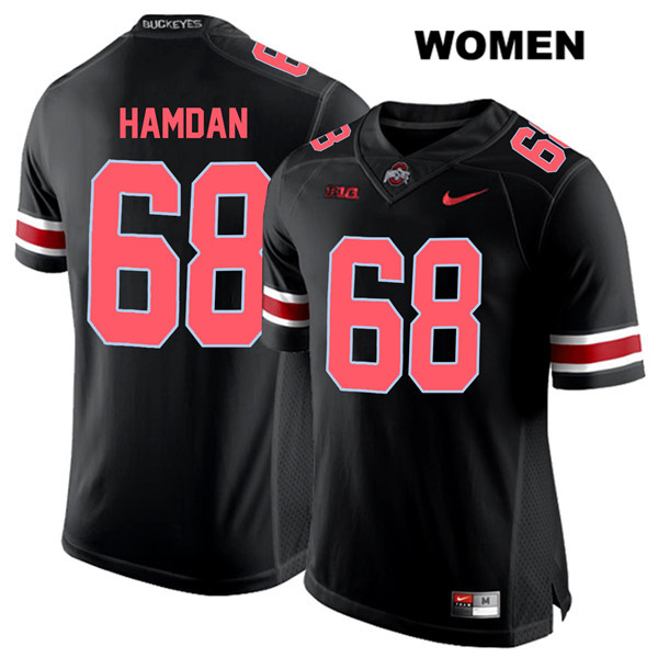 Stitched Zaid Hamdan Womens Black Red Font Ohio State Buckeyes Authentic Nike no. 68 College Football Jersey - Zaid Hamdan Jersey