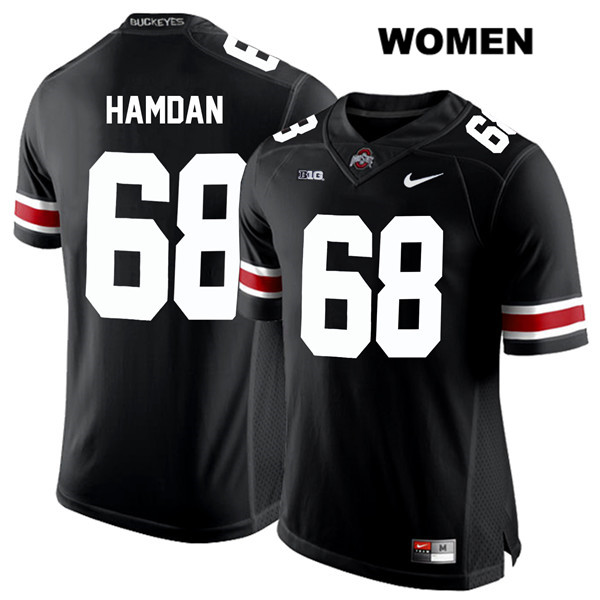 Zaid Hamdan White Font Womens Nike Stitched Black Ohio State Buckeyes Authentic no. 68 College Football Jersey - Zaid Hamdan Jersey