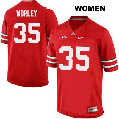 Chris Worley Nike Womens Stitched Red OSU Ohio State Buckeyes Authentic no. 35 College Football Jersey - Chris Worley Jersey