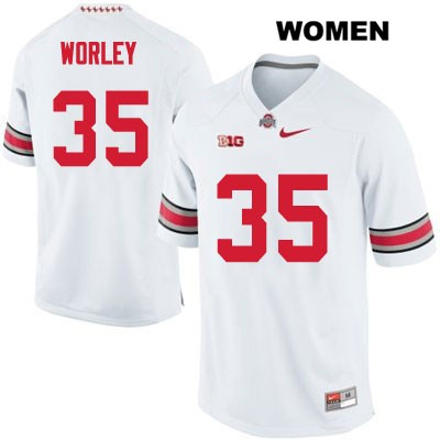 Stitched Chris Worley Nike Womens OSU White Ohio State Buckeyes Authentic no. 35 College Football Jersey - Chris Worley Jersey