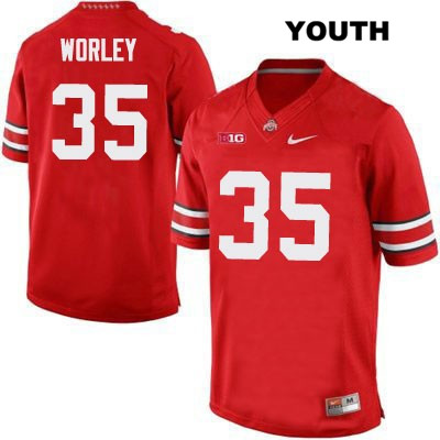 Chris Worley OSU Youth Nike Red Stitched Ohio State Buckeyes Authentic no. 35 College Football Jersey - Chris Worley Jersey