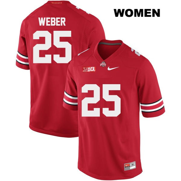 Mike Weber Nike Stitched Womens OSU Red Ohio State Buckeyes Authentic no. 25 College Football Jersey - Mike Weber Jersey