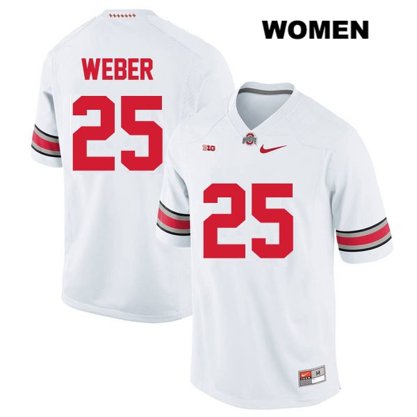 Mike Weber Womens White Stitched OSU Ohio State Buckeyes Authentic Nike no. 25 College Football Jersey - Mike Weber Jersey