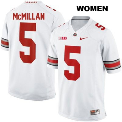 Raekwon McMillan Womens Stitched White Ohio State Buckeyes Authentic OSU Nike no. 5 College Football Jersey
