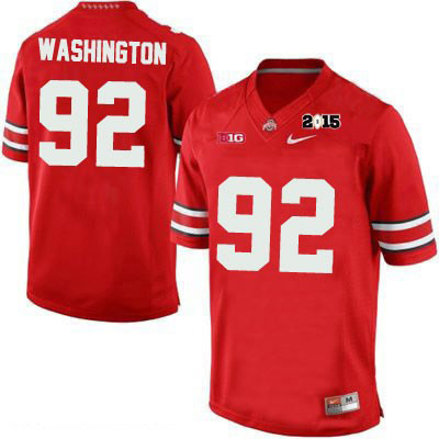 Adolphus Washington 2015 Patch OSU Mens Nike Red Ohio State Buckeyes College Football NO. 92 Jersey