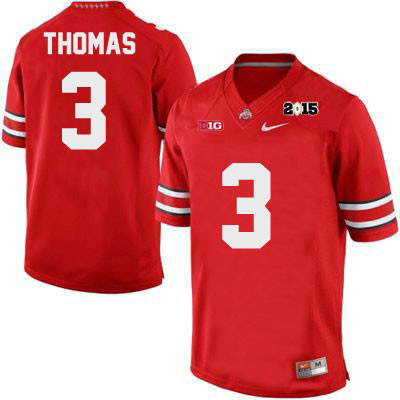 Michael Thomas Nike Mens 2015 Patch OSU Red Ohio State Buckeyes College Football NO. 3 Jersey