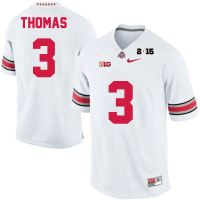 Michael Thomas Mens Nike White 2015 Patch Ohio State Buckeyes College Football OSU NO. 3 Jersey - Michael Thomas Jersey