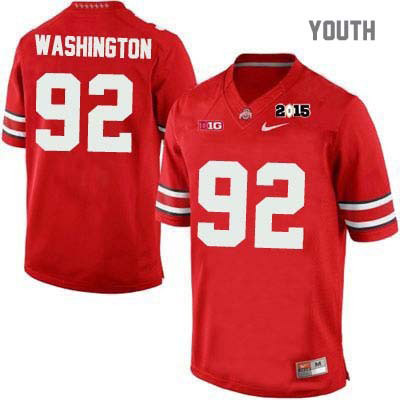Adolphus Washington Youth 2015 Patch Red Ohio State Buckeyes Nike College Football NO. 92 OSU Jersey - Adolphus Washington Jersey