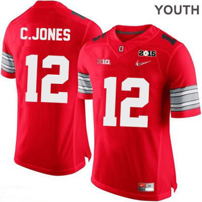 Cardale Jones Youth OSU Red Ohio State Buckeyes Diamond Quest 2015 Patch Nike College Football NO. 12 Jersey - Cardale Jones Jersey