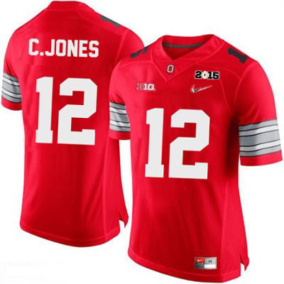 Nike Cardale Jones Mens Red OSU Ohio State Buckeyes Diamond Quest 2015 Patch College Football NO. 12 Jersey - Cardale Jones Jersey