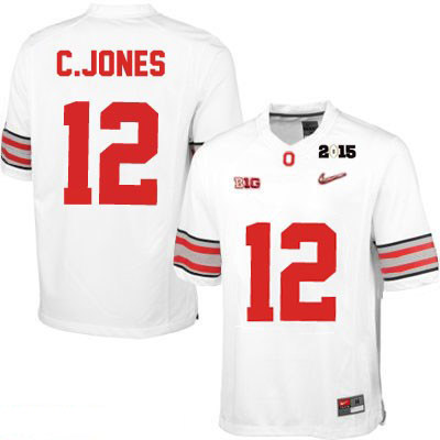 Cardale Jones Mens White Diamond Quest 2015 Patch Ohio State Buckeyes OSU College Football Nike NO. 12 Jersey - Cardale Jones Jersey