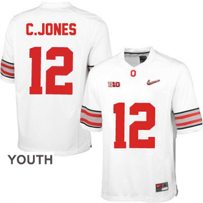 Cardale Jones Youth OSU White Diamond Quest Playoff Ohio State Buckeyes College Football NO. 12 Nike Jersey - Cardale Jones Jersey