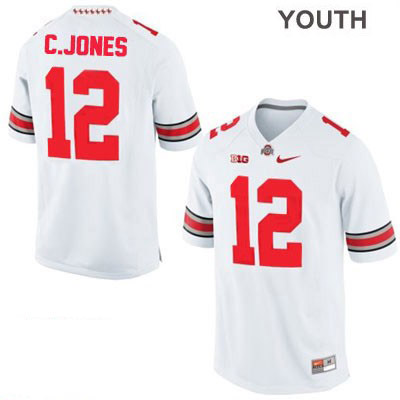 Cardale Jones Nike Youth White Ohio State Buckeyes College Football OSU NO. 12 Jersey