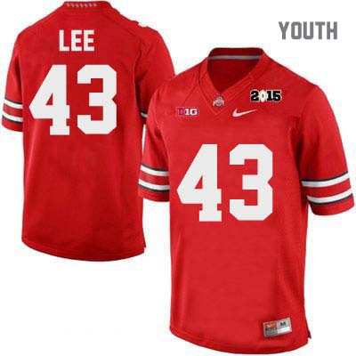 Darron Lee Youth Red Ohio State Buckeyes Nike College Football OSU 2015 Patch NO. 43 Jersey - Darron Lee Jersey