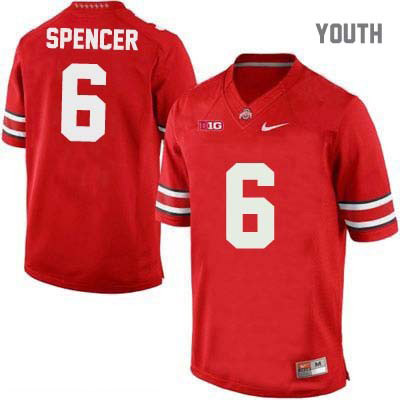Evan Spencer Youth Red Nike Ohio State Buckeyes OSU College Football NO. 6 Jersey - Evan Spencer Jersey