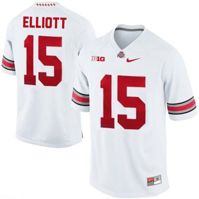 new style 670fc 5de62 Ezekiel Elliott Nike Mens White Ohio State Buckeyes OSU College Football  NO. 15 Jersey