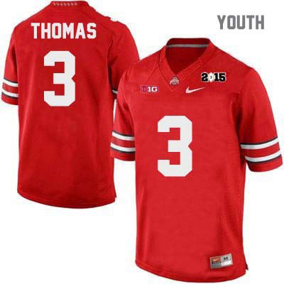 2015 Patch Michael Thomas Youth Red Ohio State Buckeyes Nike College Football OSU NO. 3 Jersey - Ohio State Buckeyes Jersey