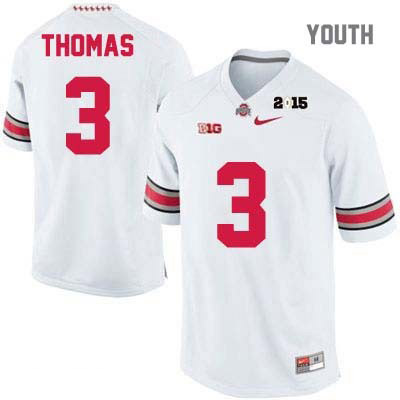 2015 Patch Michael Thomas Youth White Ohio State Buckeyes College Football OSU Nike NO. 3 Jersey - Ohio State Buckeyes Jersey