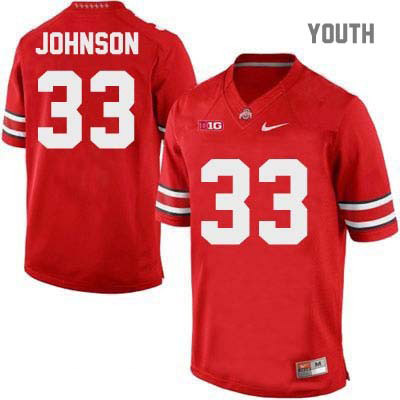 Pete Johnson Nike Youth OSU Red Ohio State Buckeyes College Football NO. 33 Jersey - Pete Johnson Jersey
