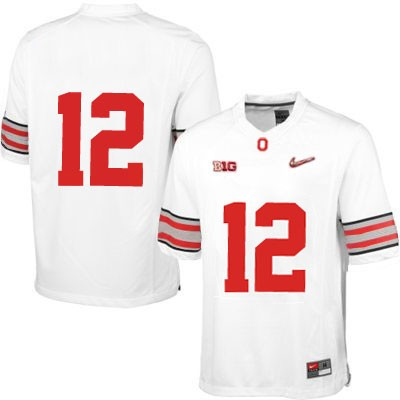 Diamond Quest Mens White Ohio State Buckeyes OSU College Football Nike NO. 12 Jersey - Ohio State Buckeyes NO. Jersey