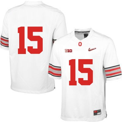 Mens White OSU Ohio State Buckeyes Nike College Football Diamond Quest NO. 15 Jersey