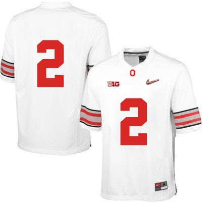 OSU Mens White Ohio State Buckeyes Nike College Football NO. 2 Diamond Quest Jersey