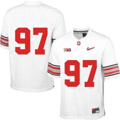 Diamond Quest Mens White Nike OSU Ohio State Buckeyes College Football NO. 97 Jersey - Ohio State Buckeyes NO. Jersey